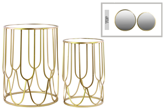 UTC32151 Metal Round Nesting Accent Table with Mirror Top and Round Base Set of Two Metallic FInish Gold