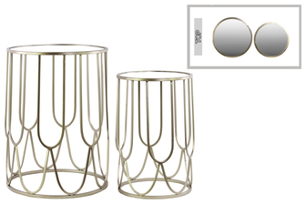 UTC32152 Metal Round Nesting Accent Table with Mirror Top and Round Base Set of Two Metallic FInish Silver