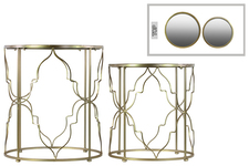 UTC32154 Metal Round Nesting Accent Table with Mirror Top and Round Base Set of Two Metallic FInish Gold
