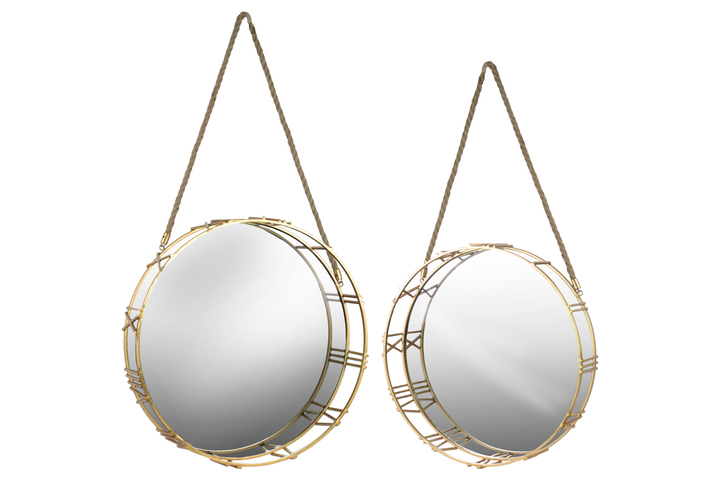 UTC32157 Metal Round Wall Mirror with Roman Numeral Design Frame and Rope Handle Set of Two Metallic Finish Gold