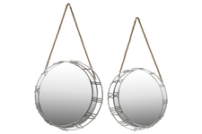 UTC32158 Metal Round Wall Mirror with Roman Numeral Design Frame and Rope Handle Set of Two Metallic Finish Silver