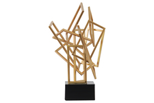 UTC32208 Metal Cascading Rectangles Sculpture on Square Base Coated Finish Gold