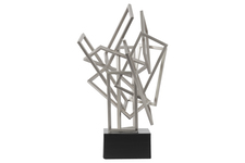 UTC32209 Metal Cascading Rectangles Sculpture on Square Base Coated Finish Silver
