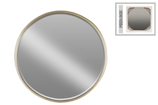 UTC32256 Metal Round Mirror with Tubular Frame and Window Box SM Coated Finish Champagne
