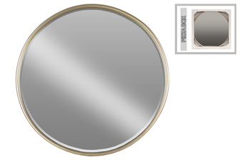 UTC32258 Metal Round Mirror with Tubular Frame and Window Box LG Coated Finish Champagne
