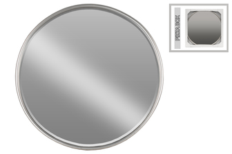 UTC32259 Metal Round Mirror with Tubular Frame and Window Box LG Coated Finish Gunmetal Gray