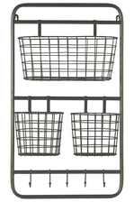 UTC32265 Metal Rectangular Wall Shelf with 5 Hooks and 3 Baskets Metallic Finish Gunmetal Gray