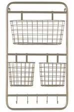 UTC32266 Metal Rectangular Wall Shelf with 5 Hooks and 3 Baskets Metallic Finish Gold