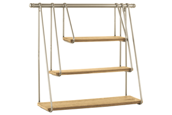 UTC32278 Metal Rectangular Wall Shelf with 3 Hanging Wooden Tier Metallic Finish Gold
