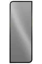 UTC32279 Metal Rectangular Wall Mirror with 2 Curved Edges Metallic Finish Gunmetal Gray