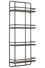 UTC32281 Metal Rectangular Wall Shelf with 4 Wooden Tier Metallic Finish Gunmetal Gray