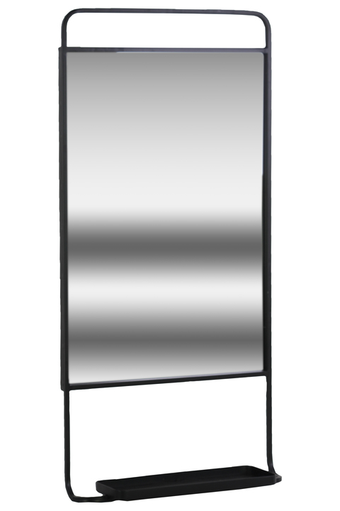 UTC32285 Metal Rectangular Wall Mirror with 1 Tier Shelf in Portrait Orientation Metallic Finish Gunmetal Gray