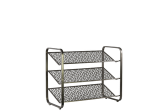 UTC32288 Metal Rectangular Shoe Rack with 3 Pierced Metal Tier Shelves Metallic Finish Gunmetal Gray