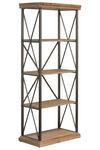 UTC32293 Wood Tall Rectangular Shelf with 5 Tier and Metal Frame Natural Wood Finish Tan