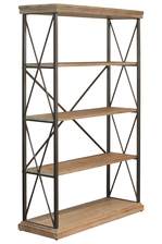 UTC32294 Wood Wide Rectangular Shelf with 5 Tier and Metal Frame Natural Wood Finish Tan