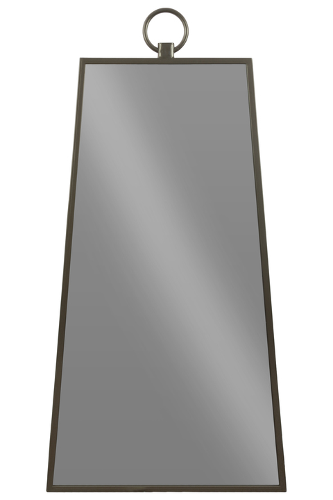 UTC32296 Metal Pyramidal Wall Mirror with Attached Ring Handle on Top Metallic Finish Gunmetal Gray
