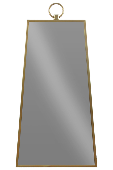 UTC32297 Metal Pyramidal Wall Mirror with Attached Ring Handle on Top Metallic Finish Gold