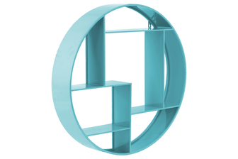 UTC32328 Metal Round Wall Shelf with 7 Slots and 2 Keyhole Hangers Coated Finish Blue