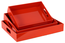 UTC32337 Wood Rectangular Serving Tray with Cutout Handles Set of Three Coated Finish Red Orange
