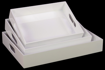 UTC32338 Wood Rectangular Serving Tray with Cutout Handles Set of Three Coated Finish White