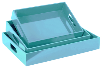 UTC32341 Wood Rectangular Serving Tray with Cutout Handles Set of Three Coated Finish Light Blue