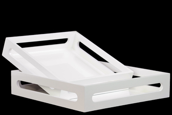 UTC32342 Wood Square Serving Tray with Cutout Handles Set of Two Coated Finish Light White