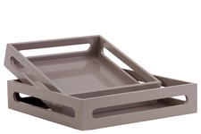 UTC32343 Wood Square Serving Tray with Cutout Handles Set of Two Coated Finish Light Taupe