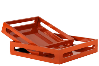 UTC32344 Wood Square Serving Tray with Cutout Handles Set of Two Coated Finish Light Orange
