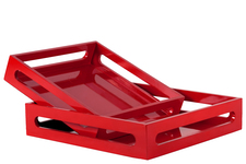 UTC32345 Wood Square Serving Tray with Cutout Handles Set of Two Coated Finish Light Red