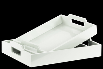 UTC32347 Wood Rectangular Serving Tray with Cutout Handles Set of Two Coated Finish White