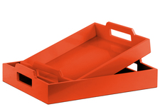 UTC32348 Wood Rectangular Serving Tray with Cutout Handles Set of Two Coated Finish Orange