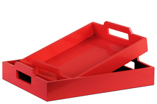 UTC32351 Wood Rectangular Serving Tray with Cutout Handles Set of Two Coated Finish Red