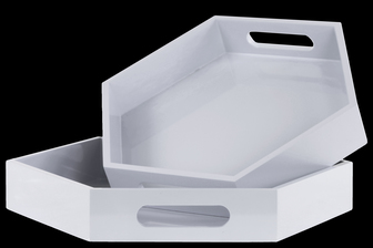 UTC32352 Wood Hexagonal Serving Tray with Cutout Handles Set of Two Coated Finish White