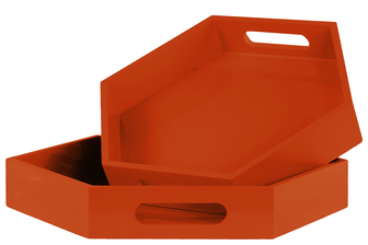 UTC32353 Wood Hexagonal Serving Tray with Cutout Handles Set of Two Coated Finish Orange