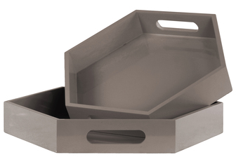 UTC32354 Wood Hexagonal Serving Tray with Cutout Handles Set of Two Coated Finish Taupe
