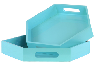 UTC32355 Wood Hexagonal Serving Tray with Cutout Handles Set of Two Coated Finish Light Blue