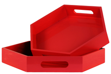 UTC32356 Wood Hexagonal Serving Tray with Cutout Handles Set of Two Coated Finish Red