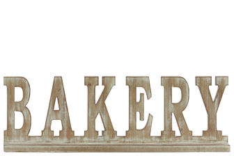 "UTC32363 Wood Alphabet Decor ""BAKERY"" on Base Weathered Finish Beige"