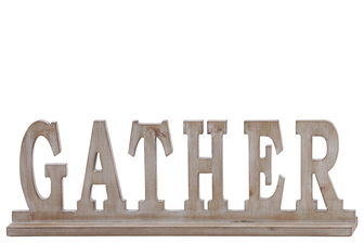 "UTC32364 Wood Alphabet Decor ""GATHER"" on Base Weathered Finish Beige"