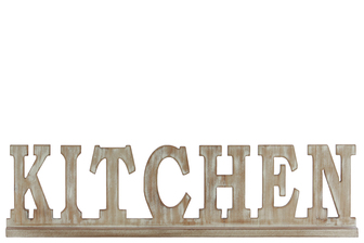 "UTC32365 Wood Alphabet Decor ""KITCHEN"" on Base Weathered Finish Beige"