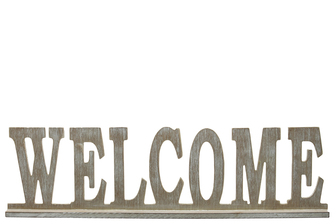 "UTC32366 Wood Alphabet Decor ""WELCOME"" on Base Washed Finish Beige"
