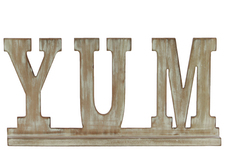 "UTC32367 Wood Alphabet Decor ""YUM"" on Base Washed Finish Beige"
