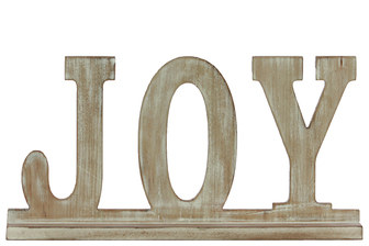 "UTC32387 Wood Alphabet Decor ""JOY"" on Base Weathered Finish Beige"