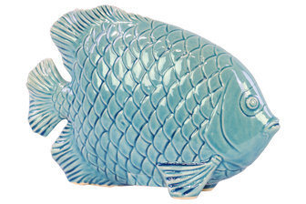 UTC32403 Ceramic Fish Figurine with Engraved Hexagonal Scales Gloss Finish Blue