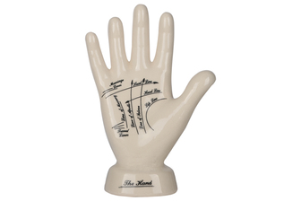 UTC32407 Ceramic Palmistry Hand Sculpture on Base with Printed Line Diagram Gloss Finish Beige