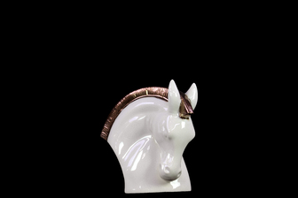UTC32506 Stoneware Nodding Horse Bust with Bronze Mane SM Gloss Finish White