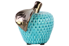 UTC32510 Ceramic Apple Figurine with Bronze Leaf LG Gloss Finish Turquoise
