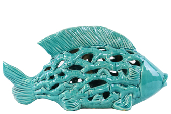 UTC32606 Ceramic Big Fish Figurine with Cutout Design and Coral Side Design Gloss Finish Turquoise