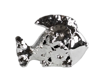 UTC32612 Ceramic Fish Figurine with Floral Cutout Design SM Polished Chrome Finish Silver