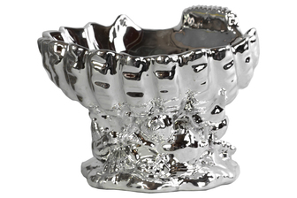 UTC32614 Ceramic Open Valve Clam Shellfish Bowl on Conch Shell Base Polished Chrome Finish Silver